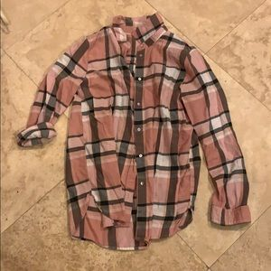 Pink and black button up
